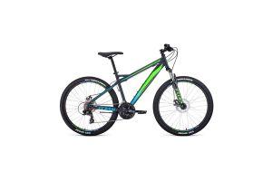 Велосипед 26' Forward Flash 26 2.2 disc Серый матовый/Ярко-зеленый 20-21 г